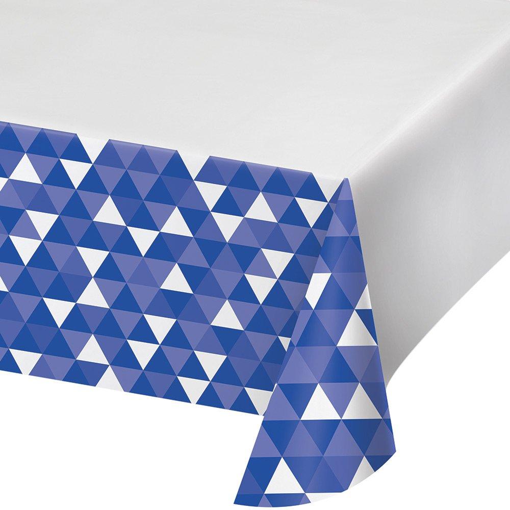 Creative Converting 324465 12Count Border Print Plastic Tablecover, 54 x 102'', Fractal- Cobalt
