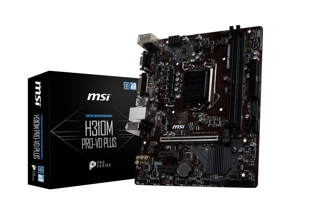 Placa Base MSI H310M Pro-Vd Plus Chipset Intel H310, DDR4 Boost, Realtek LAN, Audio Boost, VGA, X-Boost, soporta Intel pocesadores Color Negro