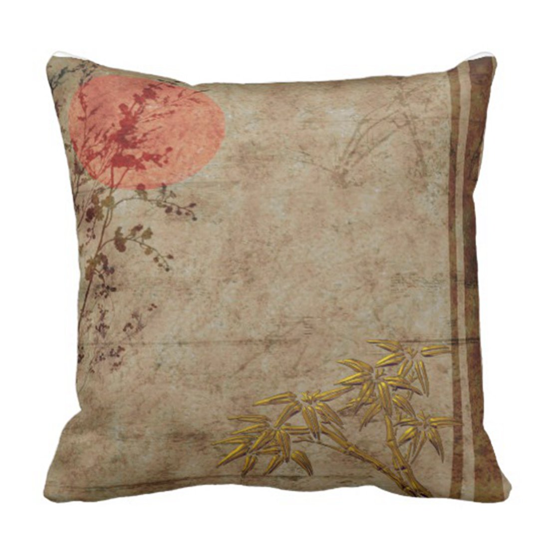 Superb Emvency Throw Pillow Cover Lounge Asian Rustic Gold Red Bamboo Blossom Couch Decorative Pillow Case Home Decor Square 16 X 16 Inch Pillowcase Short Links Chair Design For Home Short Linksinfo