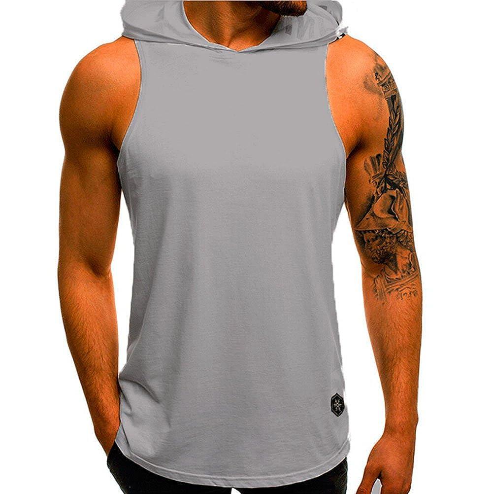 Men's Fashion Solid Hoodie Tank Vest Sleeveless Sports Tank Top Shirts Men