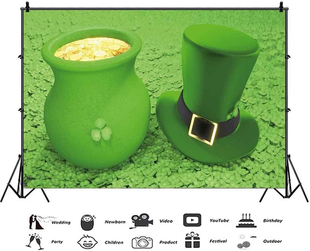 10x6.5ft Polyester St.Patricks Day Photography Backdrops Green Hat Pot of Gold Coins Lucky Shamrock Green Background Children Adults Portraits Shoot Irish Traditional Festival Photo Studio Hope