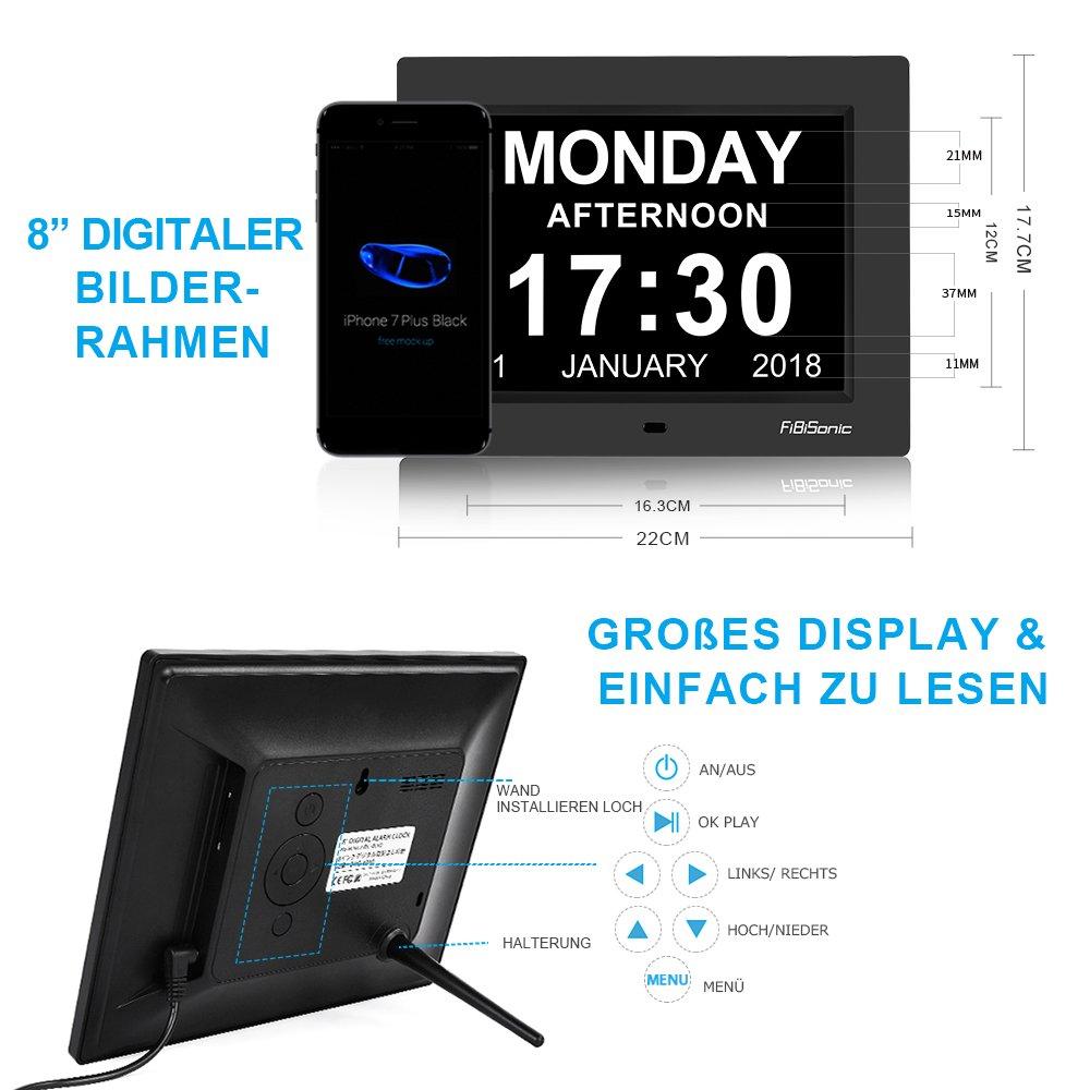 FIBISONIC Wecker Digital Bilderrahmen Groß Tischuhr/Wanduhr 8 Zoll ...