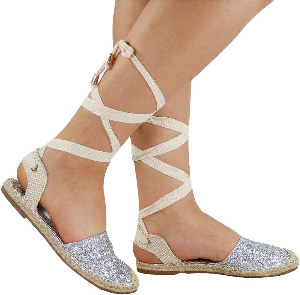 Sandales Femmes Ete Paille Ronde Orteil Plat Casual Sequin Chaussures Croix Sangle Rome Style Ballerines