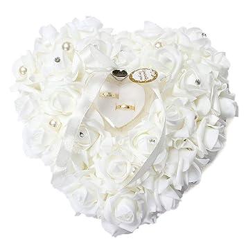 yalulu Romántico Rose Anillos de Boda Cojín con forma de anillo con forma de corazón Favors Anillos de Boda Almohada con un elegante satén Flora: Amazon.es: ...