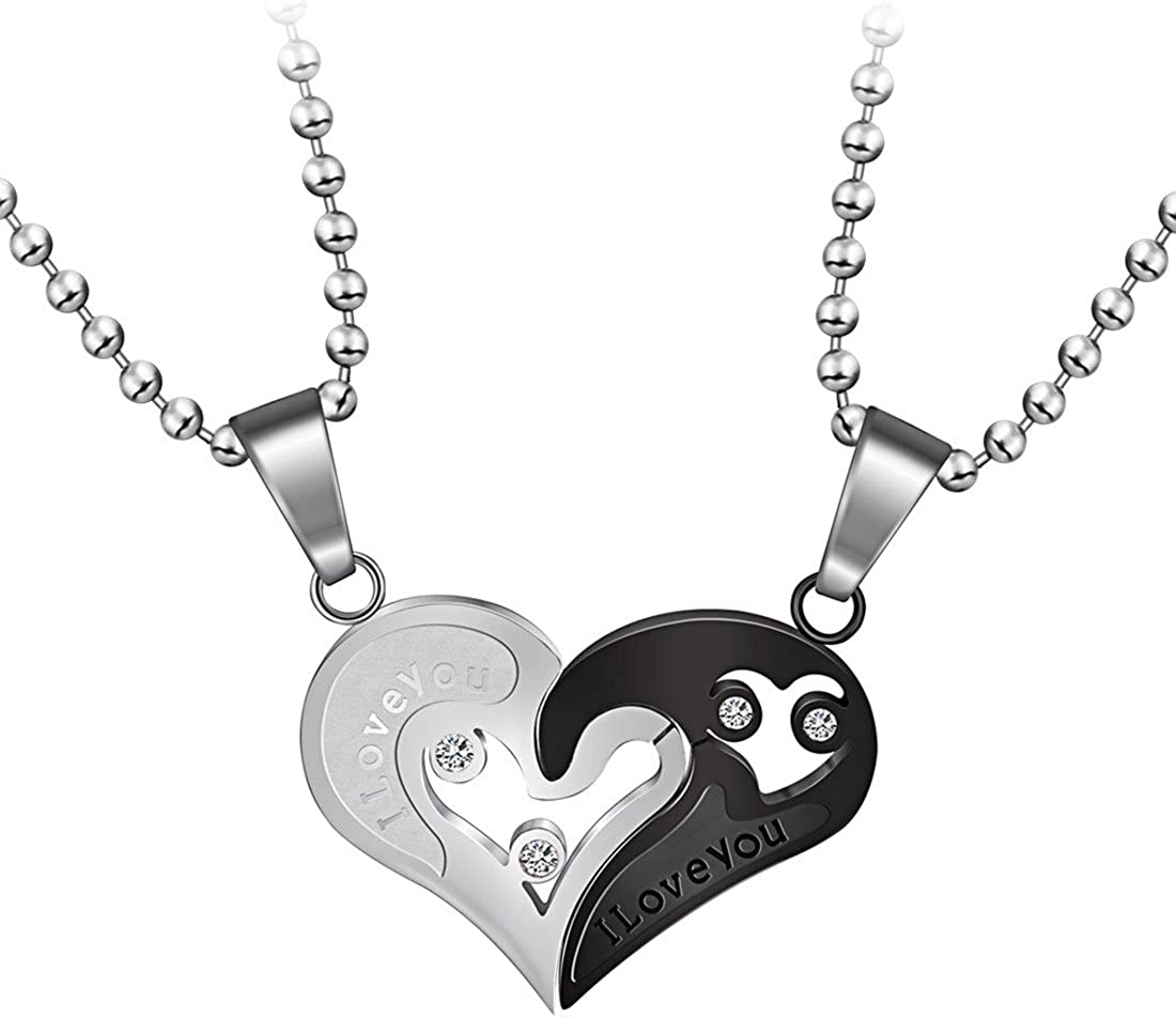 Cute Couple Gold Plated Love Ring Heart clear Crystal Pendant Long Necklace