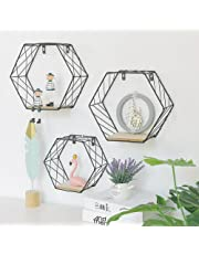 Estante de pared de hierro geométrico hexagonal para colgar en la pared, decoración de pared