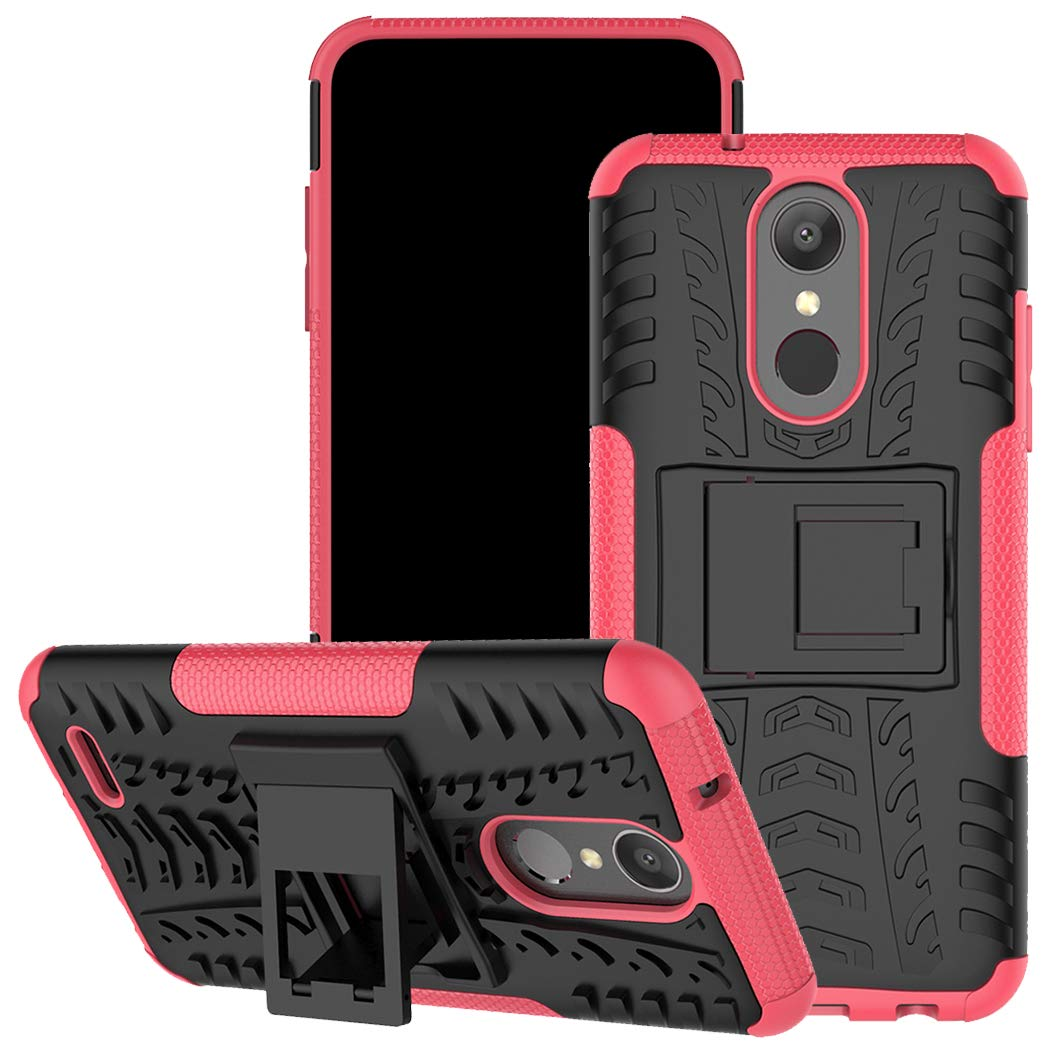 LG Aristo 2 Case, LG Tribute Dynasty/Zone 4/LG Fortune 2/ K8 2018/LG K8+ Case, Viodolge [Shockproof] Hybrid Tough Rugged Dual Layer Protective Phone Case Cover with Kickstand for LG Aristo 2 (Pink)