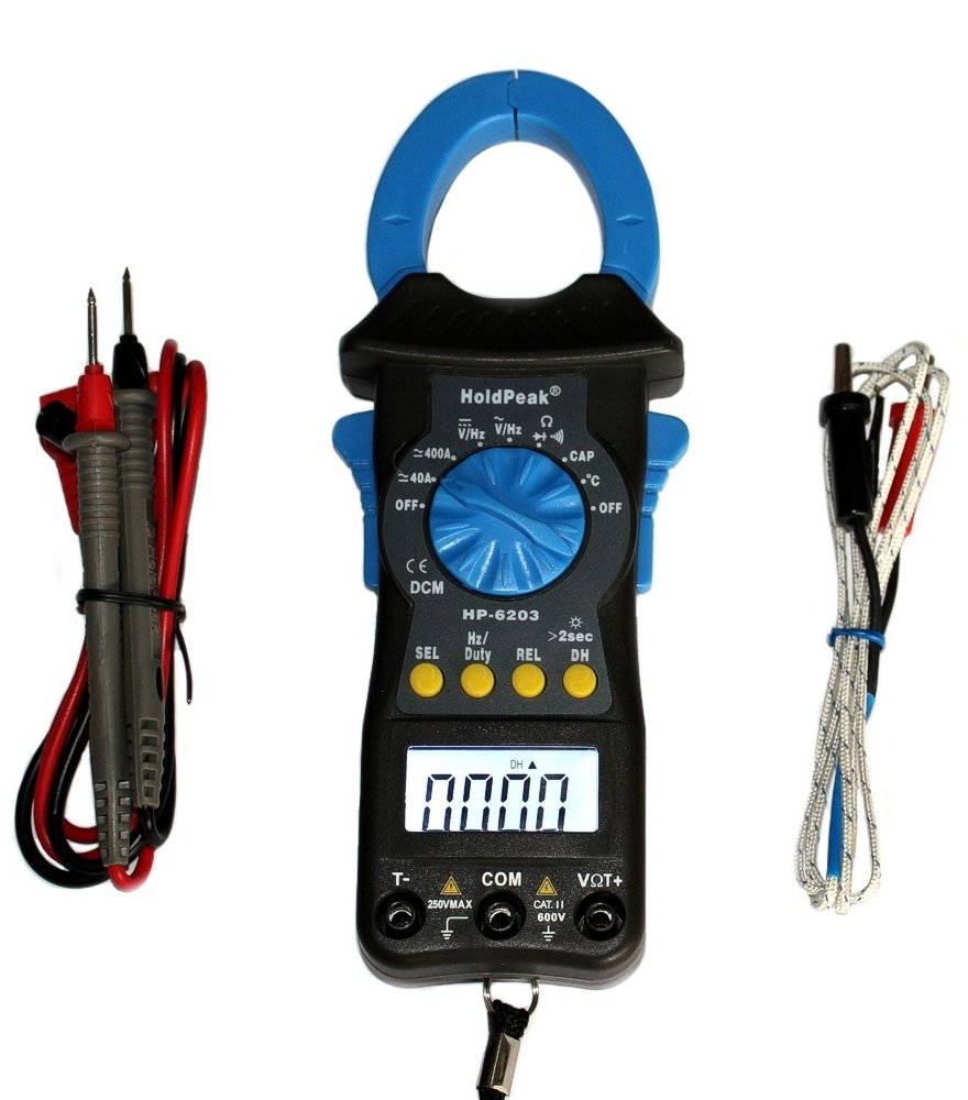 Holdpeak HP-6203 AC//DC Stromzange grau//blau Kompaktes digitales Zangen-Multimeter Gleichstromzange Amperemeter