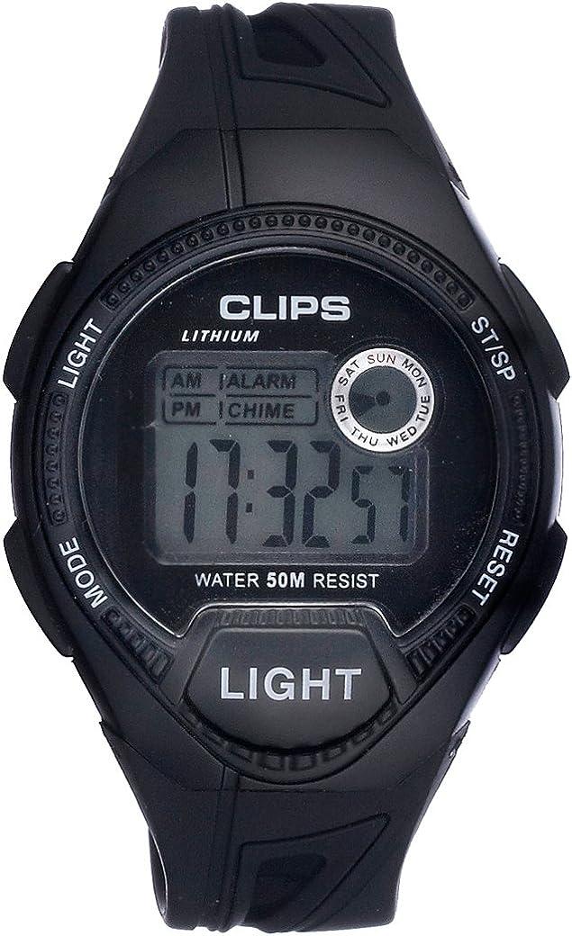 Clips 539-6004-44 - Reloj de Pulsera Hombre, Caucho, Color Negro