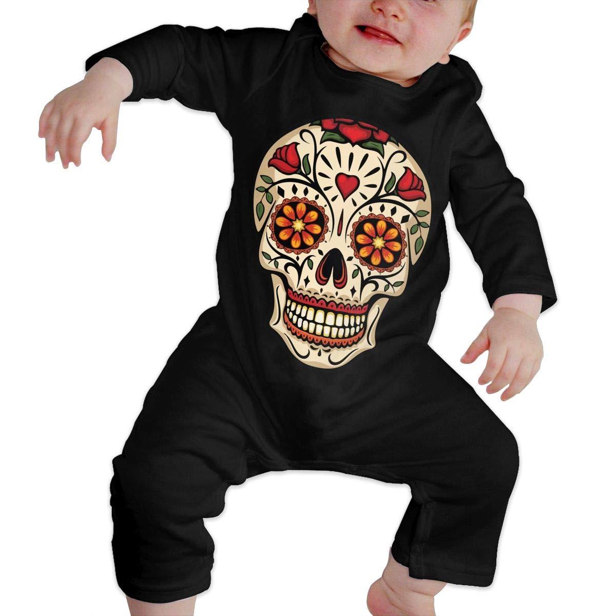 LBJQ8 Mexican Skull Baby Infant Girls Organic Cotton Romper Jumpsuit