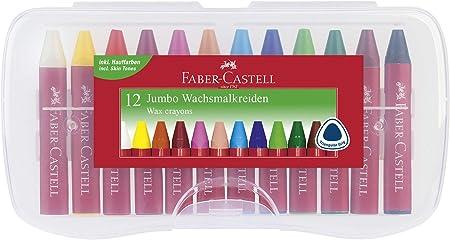 Faber-Castell 120011 - Set de 12 ceras gruesas: Amazon.es: Oficina y papelería