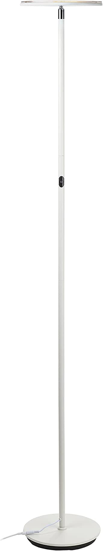 Brightech - SKY LED Torchiere Floor Lamp - Dimmable Super Bright 30-Watt LED - Warm White Color - Omni-Directional Head - Sleek White Finish