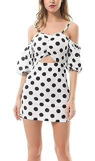 bfbf95dee2fdc HaiDean Robe Ete Femme Élégant Bubble Sleeve Polka Dots Epaule Nue Dos Nu  Robe Mini Robe