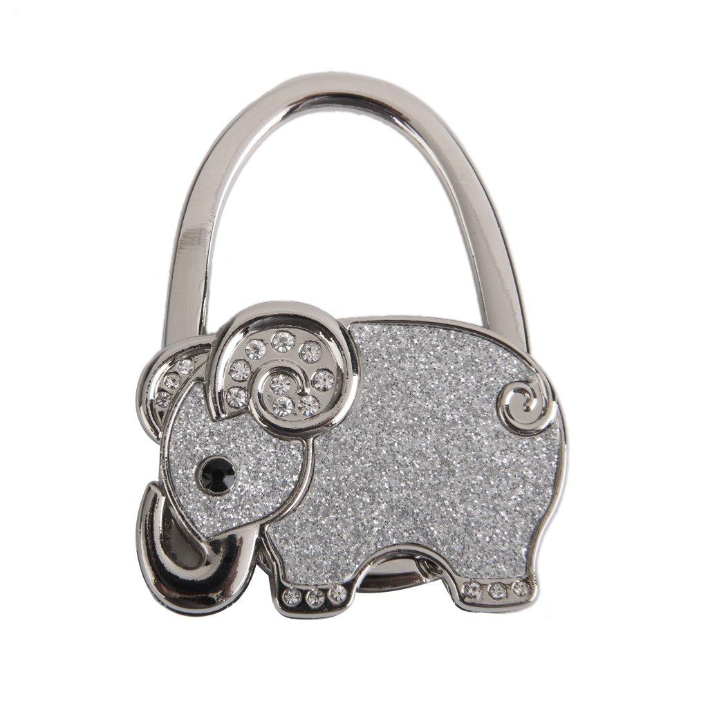 Table Foldable Purse Bag Rhinestone Elephant Hanger Handbag Hook Holder
