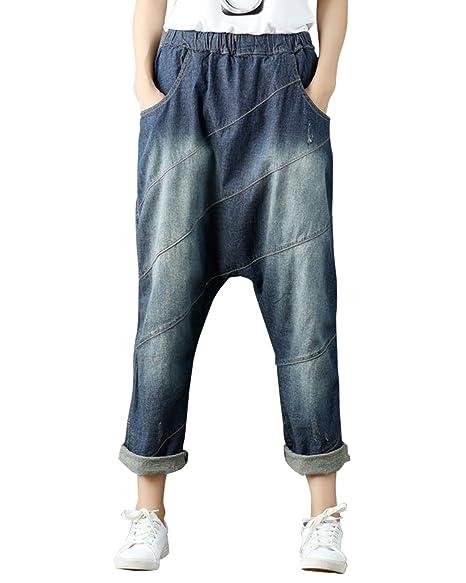 Aeneontrue Women's Casual Hip Hop Drop Crotch Ripped Harem Jeans Sreet Denim Pants Trousers