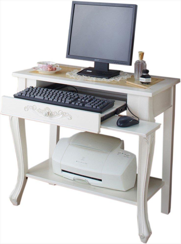 アンティーク調家具 クラシカルシリーズ コンピューターデスク 【ホワイト】 B07C89F2TR コンピューターデスク|ホワイト ホワイト コンピューターデスク