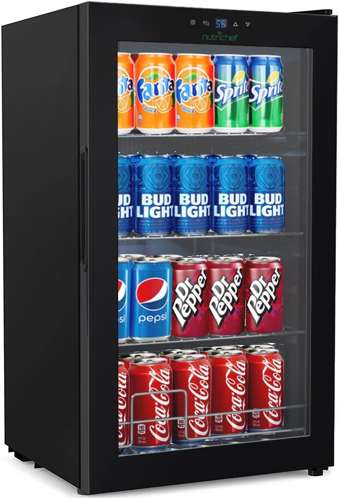 Nutrichef Wine and Beverages Chiller - Big Refrigerator Cooler with Multi-tier Shelf Racks, Adjustable Temp Control and Auto Defrost Function, LCD Thermostat Display - (AZPKTEBC70)