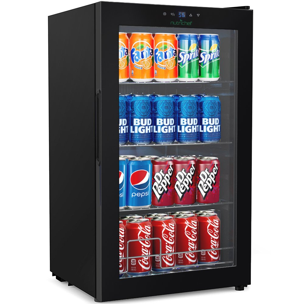 NutriChef 77 Can Beverage Cooler Refrigerator with Glass Door - Beer Cooler Fridge Center