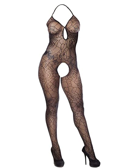 8220487bb Amazon.com  LemonGirl BabyDolls Fishnet Bodystockings Lingerie for Women  Strap Bodysuit One Size  Clothing