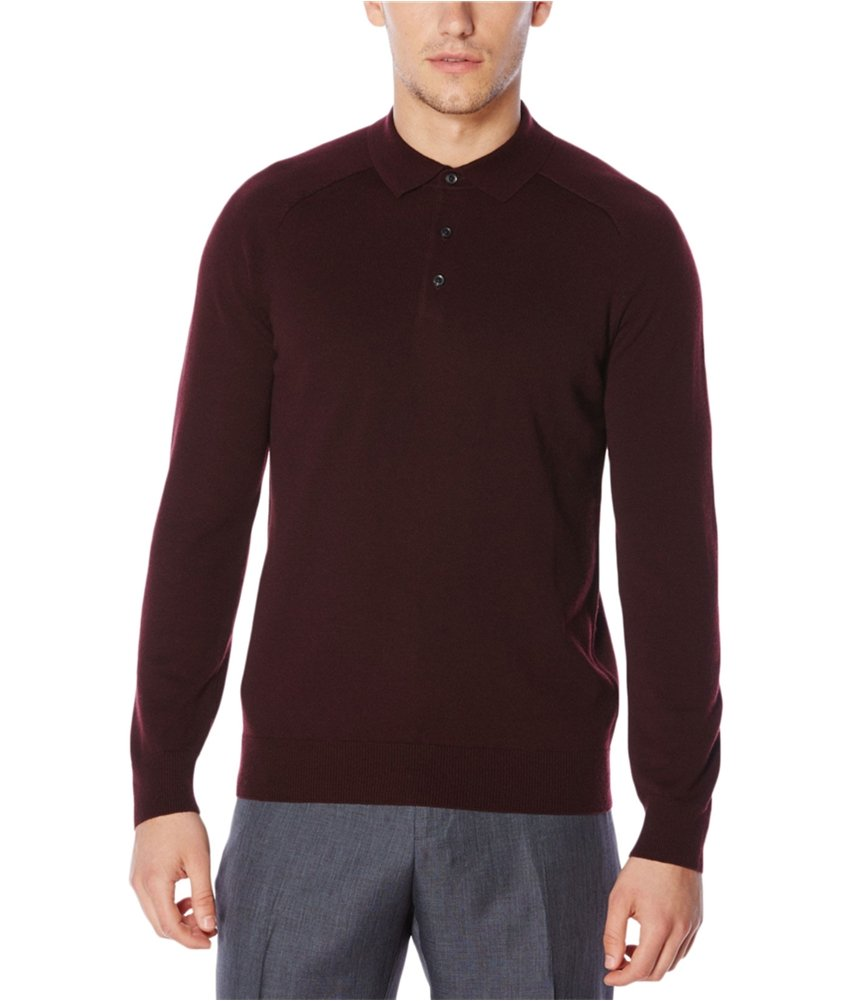 Perry Ellis Men's Solid 3 Button Sweater Polo, Port, M