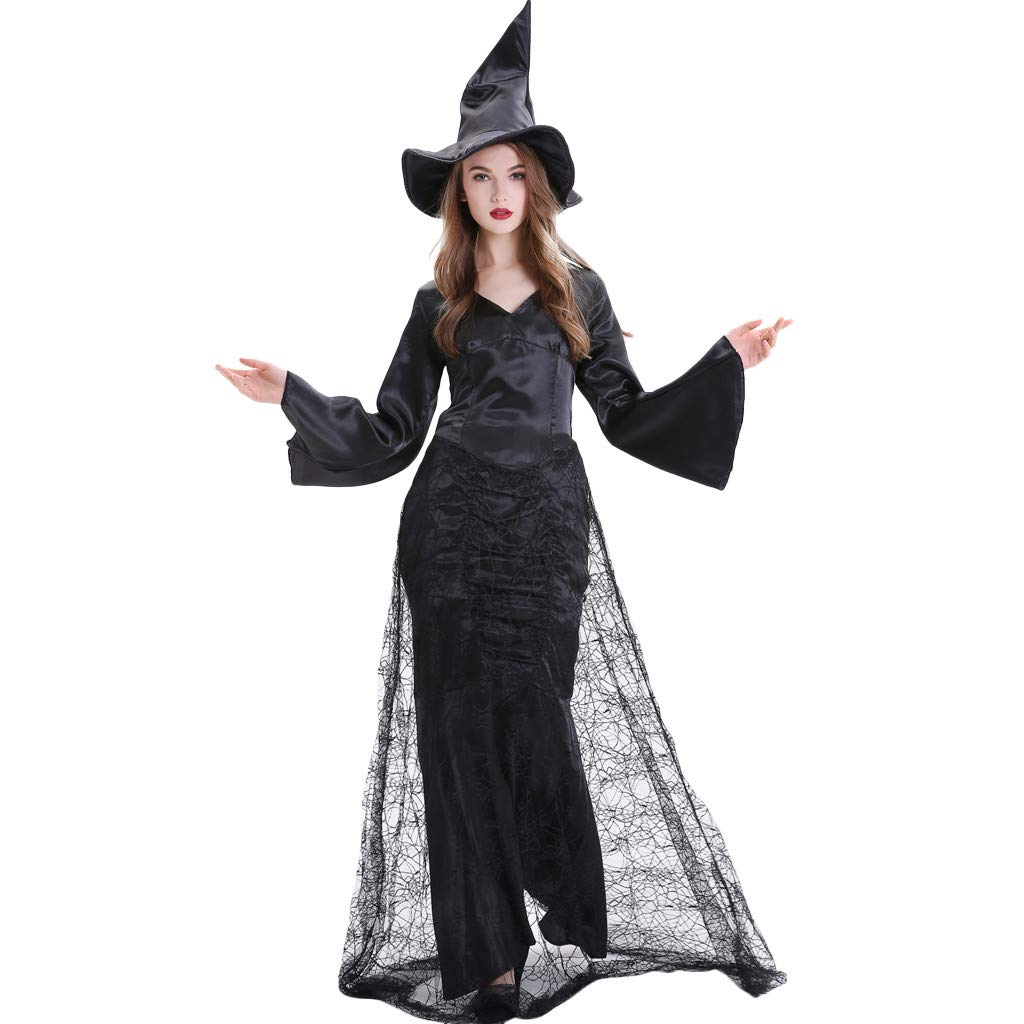 Onegirl Halloween Black Witch Costume and Hat for Women Long Sleeve V Neck Dress Cosplay Performance Clothes by Onegirl-dress