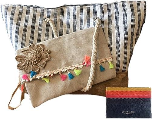 ISLEÑA Pack capazo de playa, neceser o bolso de mano y tarjetero ...