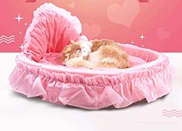 Popowbe Rosa Mascota Perro Cachorro Princesa Lazos Pequeño Coral Polar Encaje Corazón Cama Elegante Cálido Casa