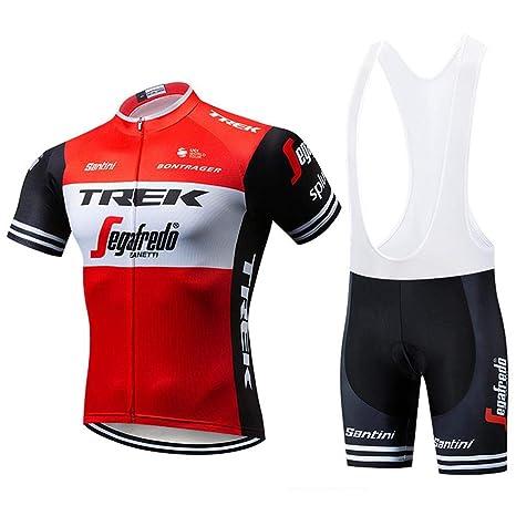 Trajes De Ciclismo para Hombre Ropa De Bicicleta De Manga Corta + Culotte Corto con Gel De Secado Rápido Acolchado Red-XL