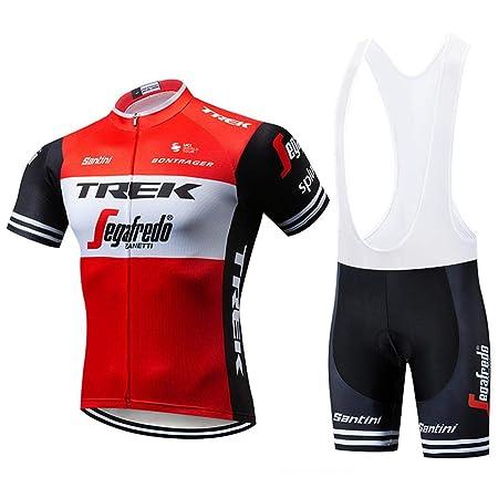 Trajes De Ciclismo para Hombre Ropa De Bicicleta De Manga Corta + Culotte Corto con Gel De Secado Rápido Acolchado Red-M