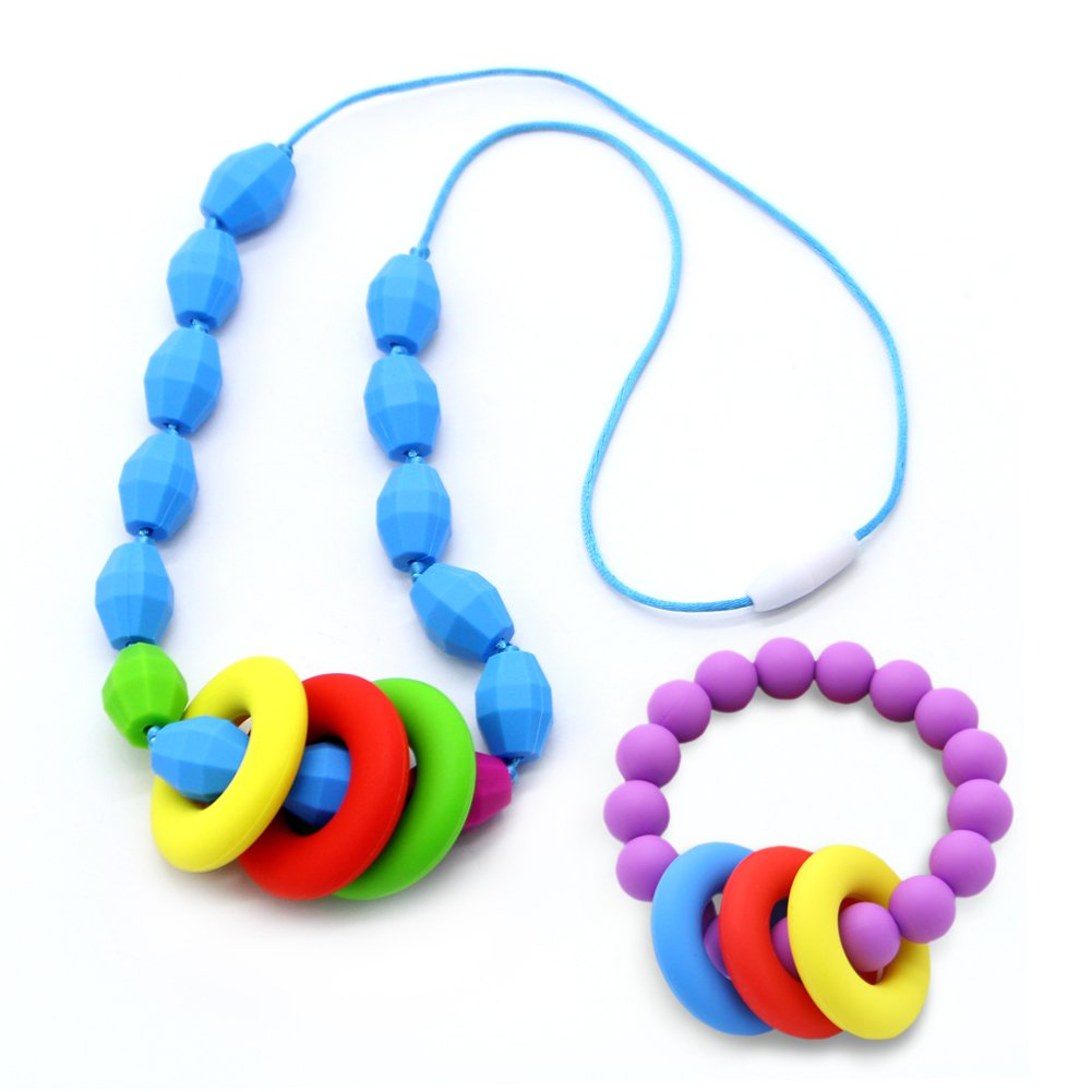 Rainbow Itzy Ritzy Baby BRACEBEAD3003B Itzy Ritzy Teething Happens Silicone Bracelet