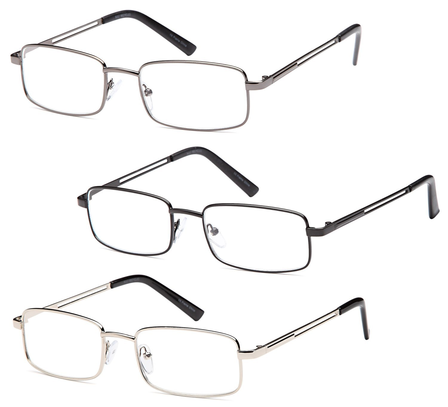 Reading Glasses 3X Stainless Flex 1.50 Readers by GAMMA RAY OPTICS