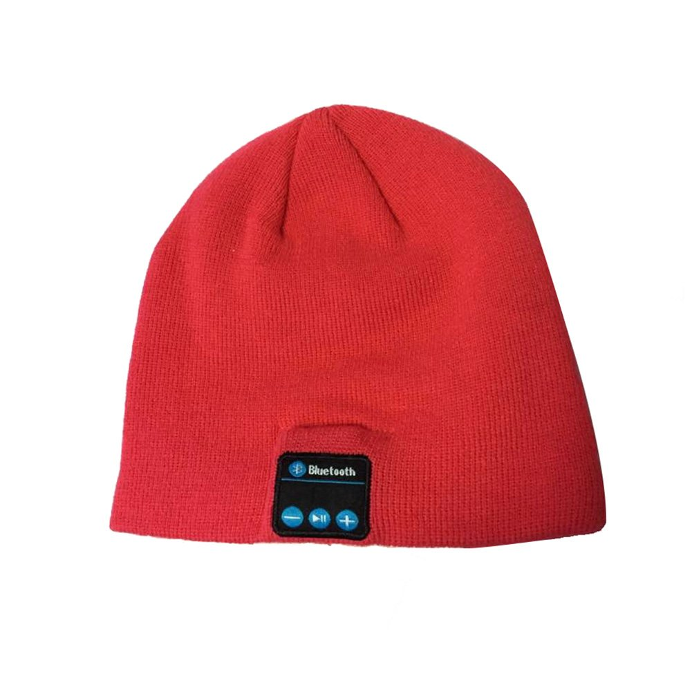 Bluetooth Music Soft Warm Hat With Stereo Headset Speaker Wireless Hands-free Cap (Red)