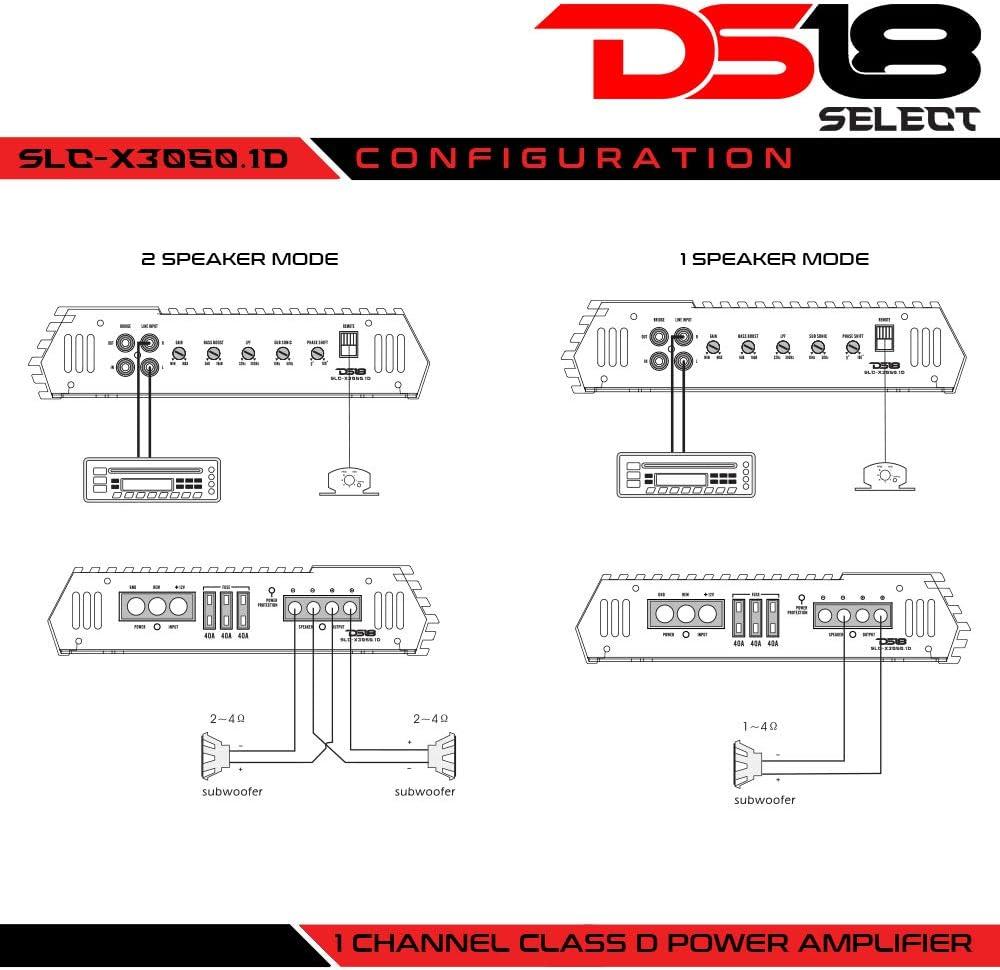 DS18 SLC-X1050.4 Select Series 4 Channel Class Ab Monoblock Amplifier 1050 Watss Max Power