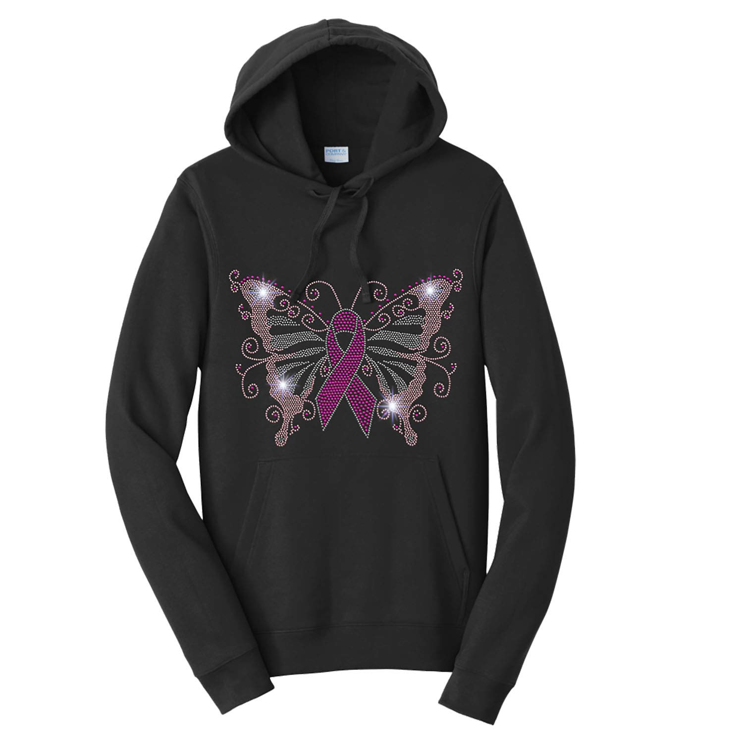 Breast Cancer Awareness Butterfly Spangle Rhinestone Bling Shirt