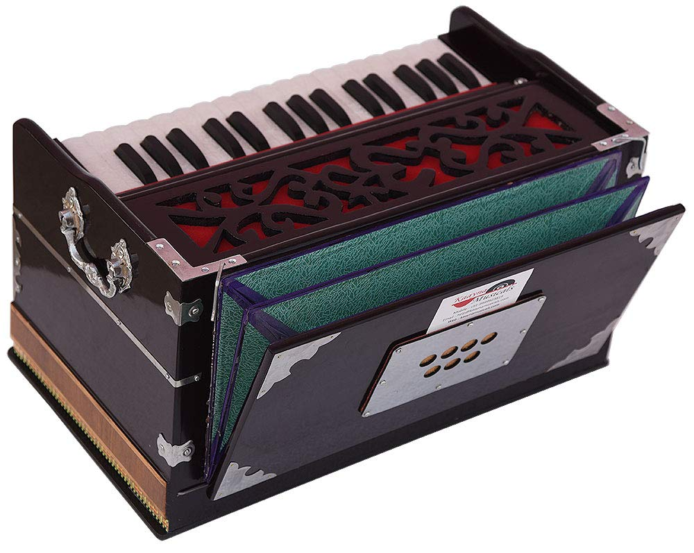 OM Harmonium Mini Magic By Kaayna Musicals, 4 Stop- 2 Main & 2 Drone, 2¾ Octave, Dark Cherry Colour, Gig Bag, Bass/Male- 440 Hz, Best for Yoga, Bhajan, Kirtan, Shruti, Mantra, Meditation, Chant, etc. by Kaayna Musicals (Image #4)