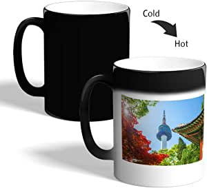 Chinese Landmarks Printed Magic Coffee Mug, Black