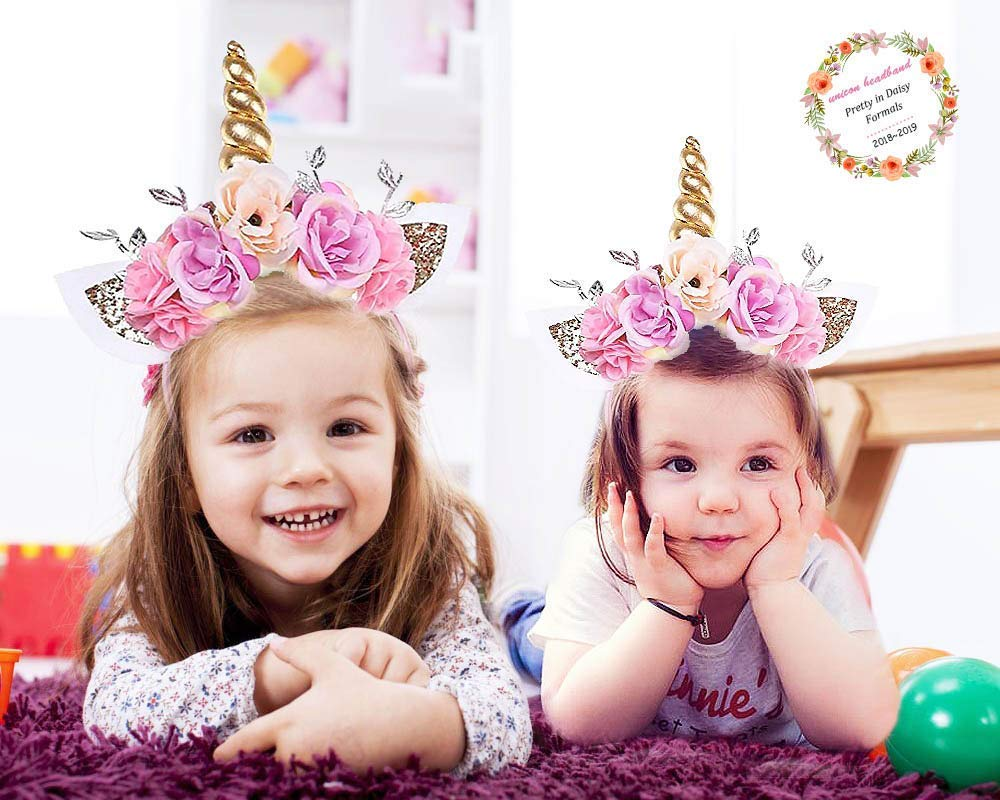 Girls Gold Unicorn Headband,& Pink Silk Unicorn Birthday Sash,Unicorn Party Supplies for Kids Adults 7