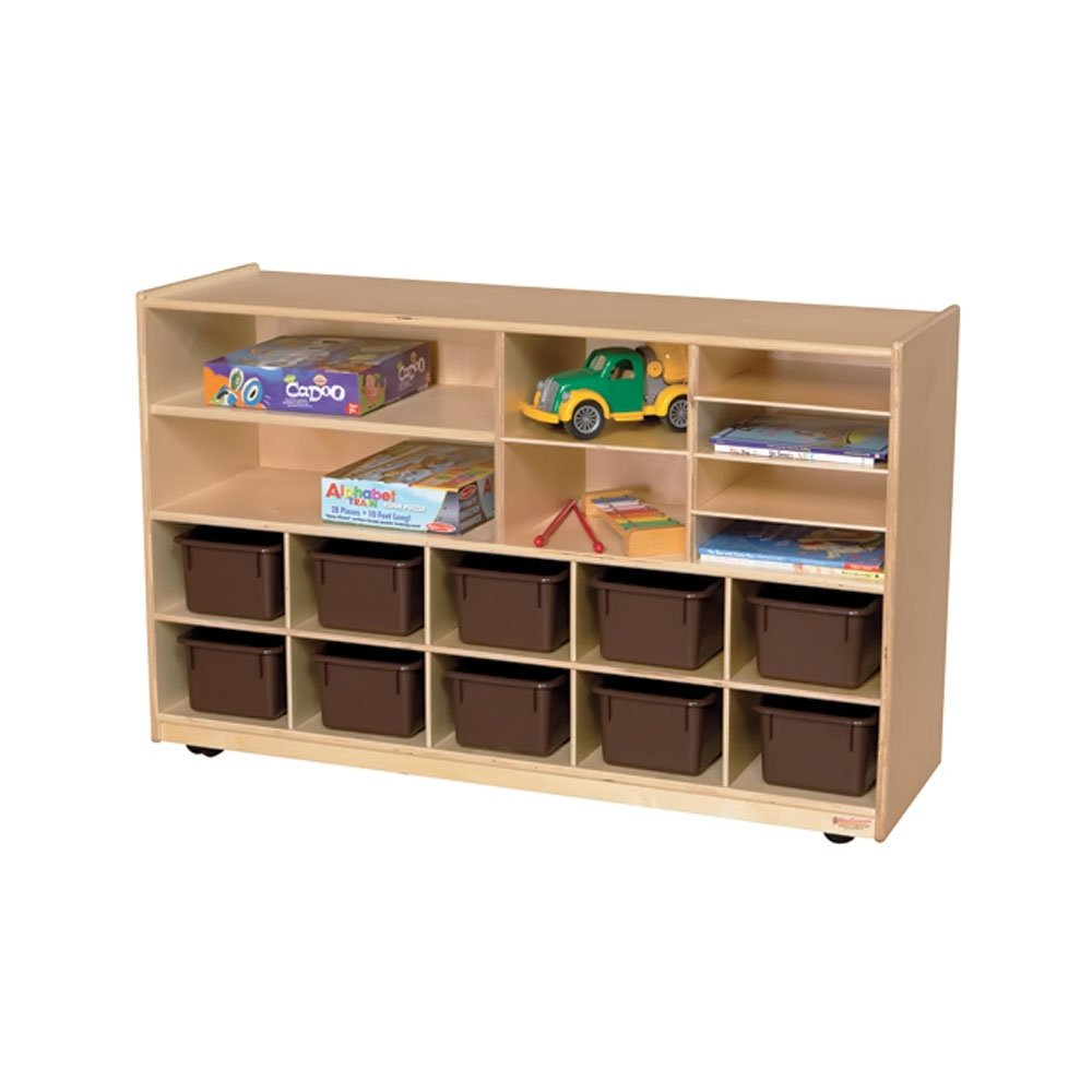 Wood Designs Kids Play Toy Book Plywood Organizer Wd1650212 Brown Trays Plus Shelving Storage