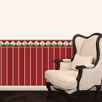 Elegante Block Streifentapete In Bibliotheks Rot Passt Zur Borte