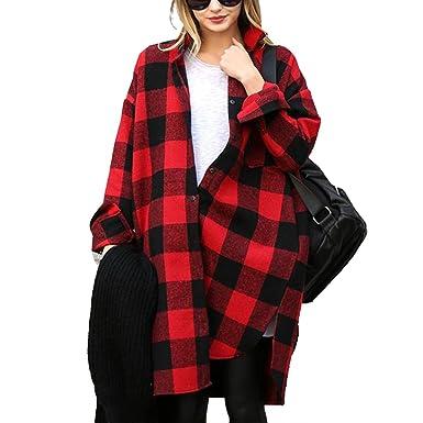 Chemise a Carreaux Rouge et Noir Femme Lâche Tunique Manches Longues  Vintage Tartan Style Plaid Shirt ed76c0993688