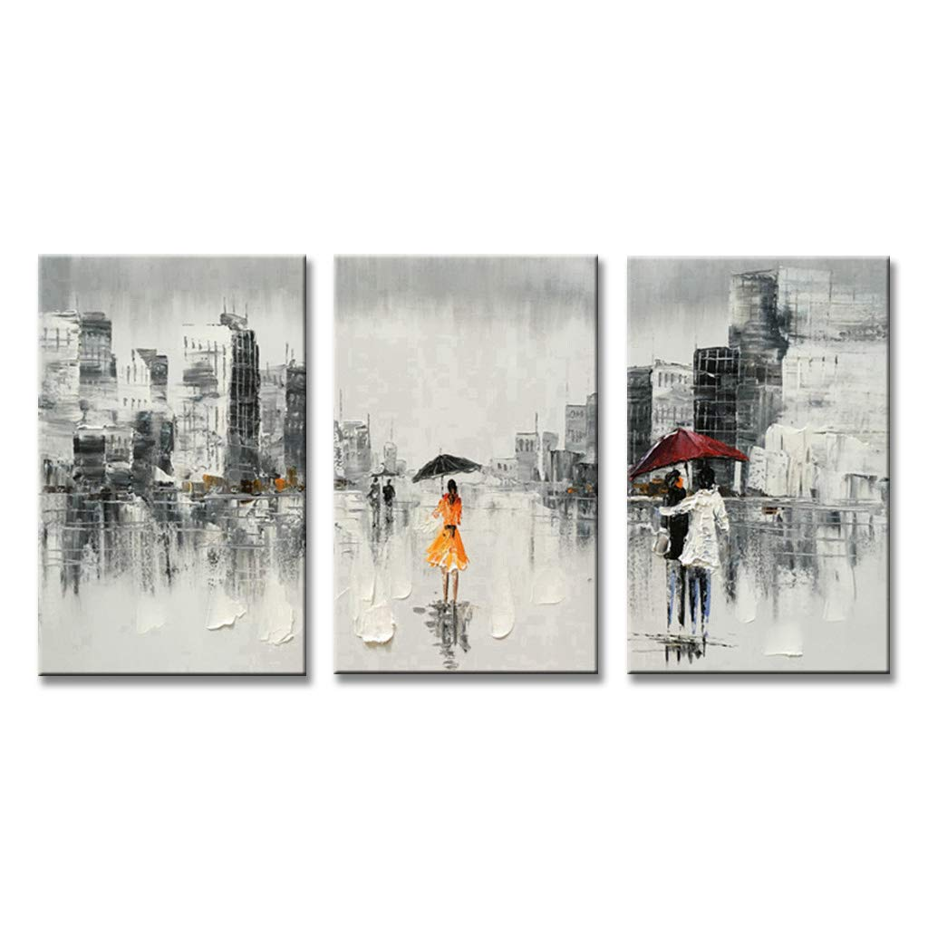 EVERFUN ART Abstract Wall Art Hand Painted Modern People Cityscape Oil Painting on Canvas Decorative Artwork Home Decoration Stretched and Framed Ready to Hang (48'' W x 24'' H (16''x 24'' x 3 pcs))
