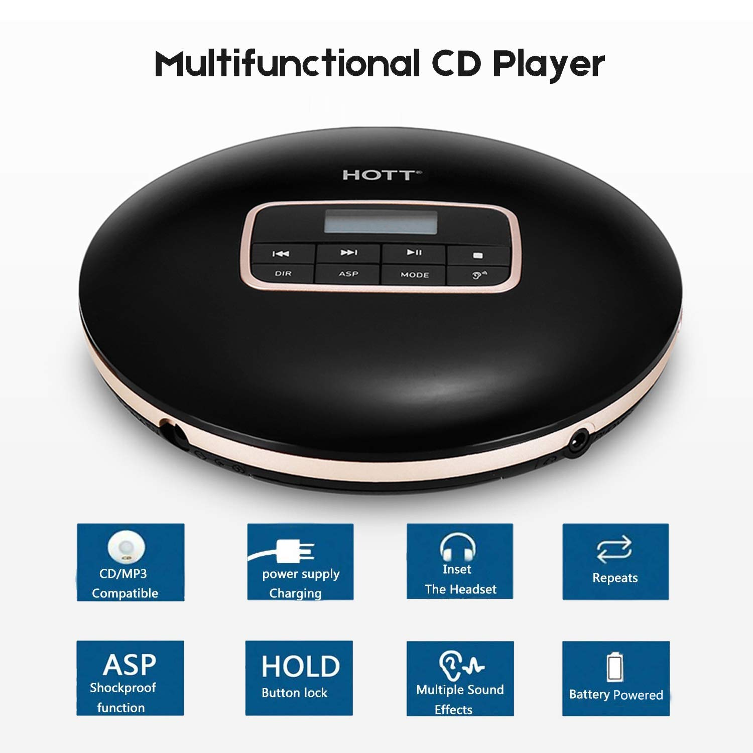Black Portable Disc Player Anti-Slip//Anti-Shock Protection for Adults Students Kids Personal Compact CD Player with LCD Display//Headphones//USB Power Adapter Portable Bluetooth CD Player