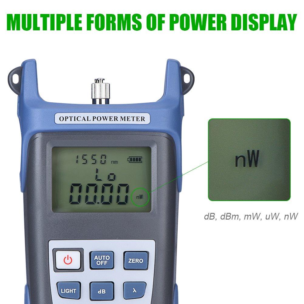 Testeur de Puissance Optique de Haute Pr/écision 70dBm-10dBm Compteur d/Énergie Optique /à Fibre avec Connecteur FC//SC Aufee Compteur d/Énergie Optique
