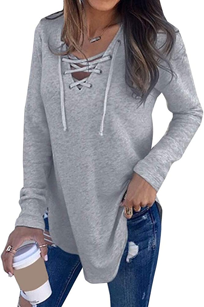 Black Lace Up Back Ribbed Knit Soft Long Sleeve Women/'s Juniors V-Neck Fall Top