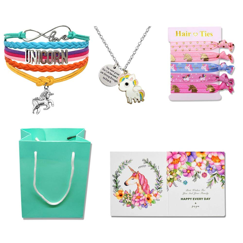Unicorn Gifts for Girls - Unicorn Goodie Bag, Rainbow Bracelet/Hair Ties/Unicorn Necklace/Gift Card/Gift Bag