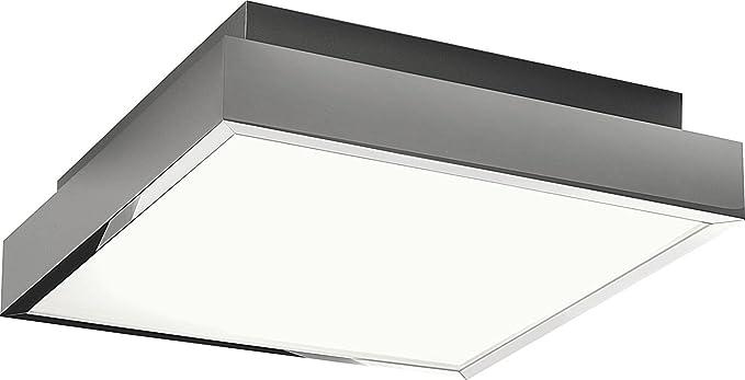 Plafón rectangular plano Cristal Cromo Metal Diseño Moderno ...