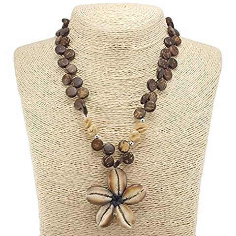 Cowrie Kaput Shells Flower Pendant on Coconut Wood Disk Beaded Necklace (Brown) - Coconut Shell Pendant