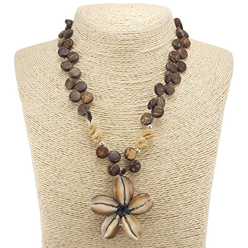 Cowrie Kaput Shells Flower Pendant on Coconut Wood Disk Beaded Necklace (Brown)