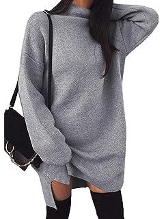3462a8c8798 Minetom Femmes Chandail Robe Mini Elegant Pull Manche Longue Loose Solide  Sweater Tunique Oversize Tricot Chemisier