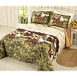 "Country Living SUNSET RUN Western Equestrian Galloping HORSES QUILT SET + ONE QUILTED PILLOW SHAM (2pc TWIN SIZE)(80"" W x 110"" L)"